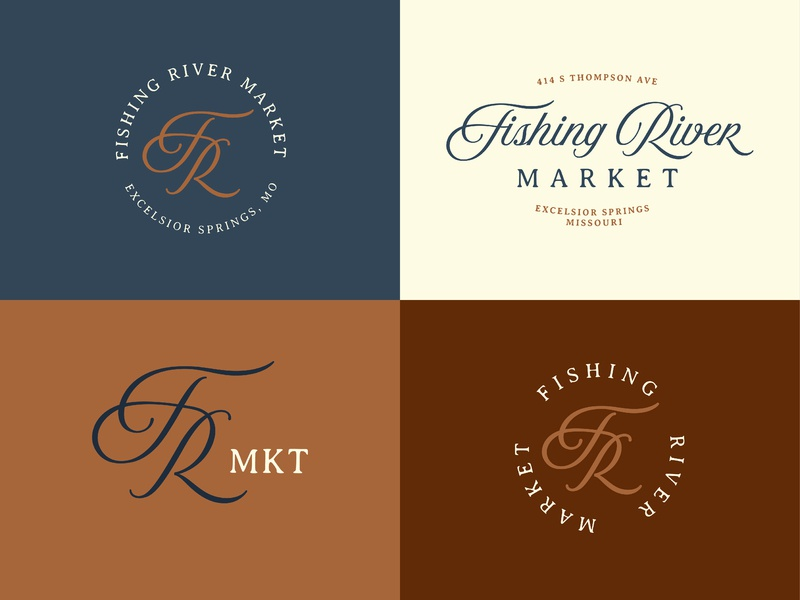 Fishing River Market retail store graphic design logo graphic design antique vintage vector typography brand logo design branding