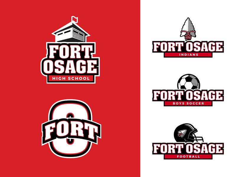 Fort Osage High School mascot soccer football sports education school illustration vector typography brand logo design branding