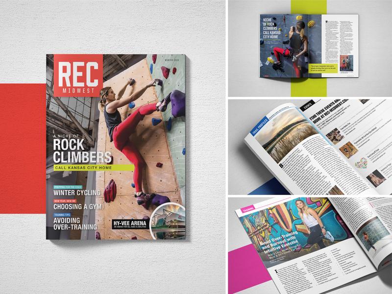 REC Midwest Magazine print design recreation sports magazine cover publication magazine print typography brand logo design branding