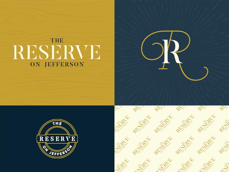 The Reserve vintage furniture antiques store shopping bistro restaurant food vector typography brand logo design branding