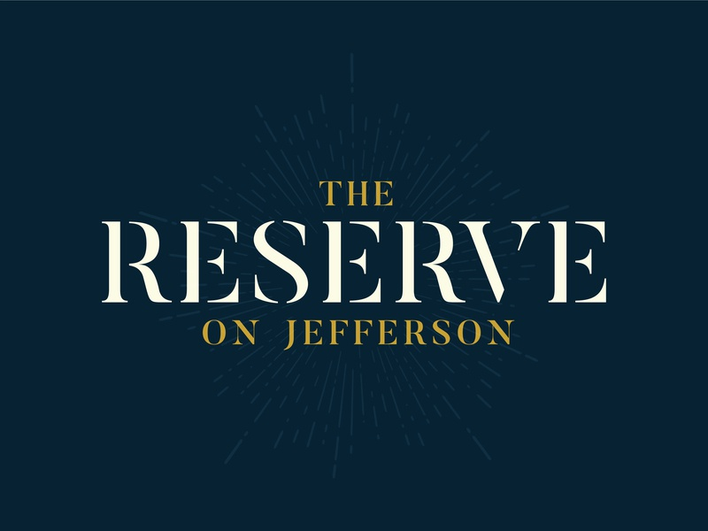 The Reserve on Jefferson vintage furniture antiques store shopping bistro restaurant food vector typography brand logo design branding