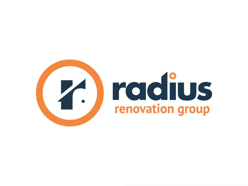 Radius Renovation Group circle radius paint house repair construction real estate restoration renovation print vector brand logo design branding