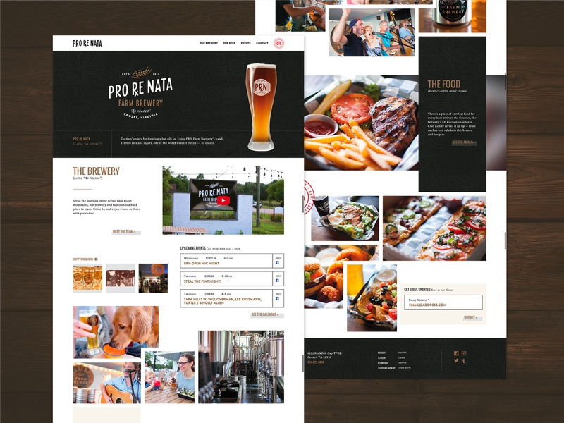 Pro Re Nata Farm Brewery farm food brewery beer webdesign website web homepage branding ux ui brand design