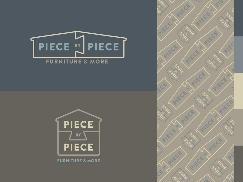 Piece by Piece puzzle furniture house pattern store vector typography logo brand design branding