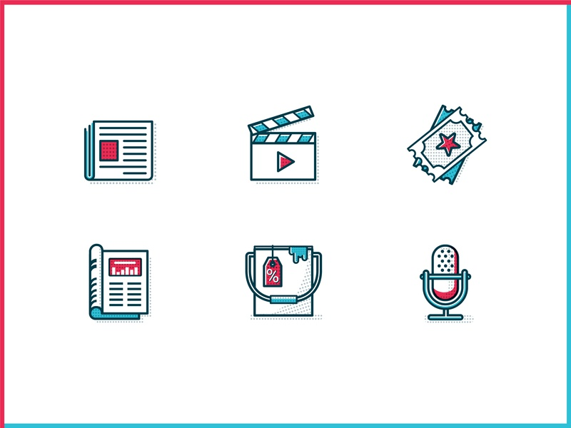 Think Realty Supplier Discount Icons newsletter newspaper event print magazine podcast video ux ui vector illustration brand branding icons icon