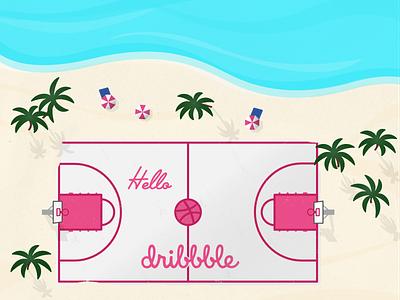 Dribbbling debut shot debute basketball beach dribbble vector illustration