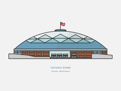 The Tacoma Dome building tacoma washington state vector lines illustration