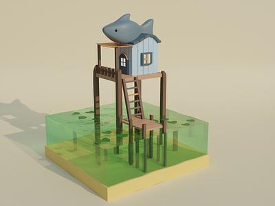 house on the water blender 3dblender 3dart house 3d design 3d