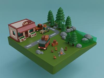 The outskirts of the village 3d 3dart 3d illustration illustration