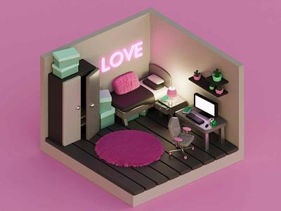 Teenager's room 3dart 3d art 3d design 3d illustration 3d
