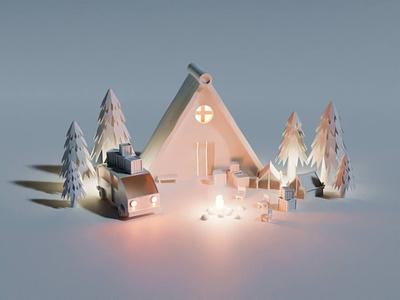 Glacier camp design blender 3d design 3d 3d modelling 3dart 3d art illustration 3d illustration invite give away invitation