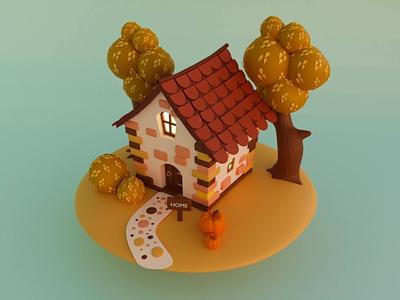 Family house 3d design pumpkin house family 3d art illustration 3d illustration 3dart