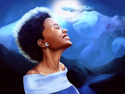 Blue moon illustration design