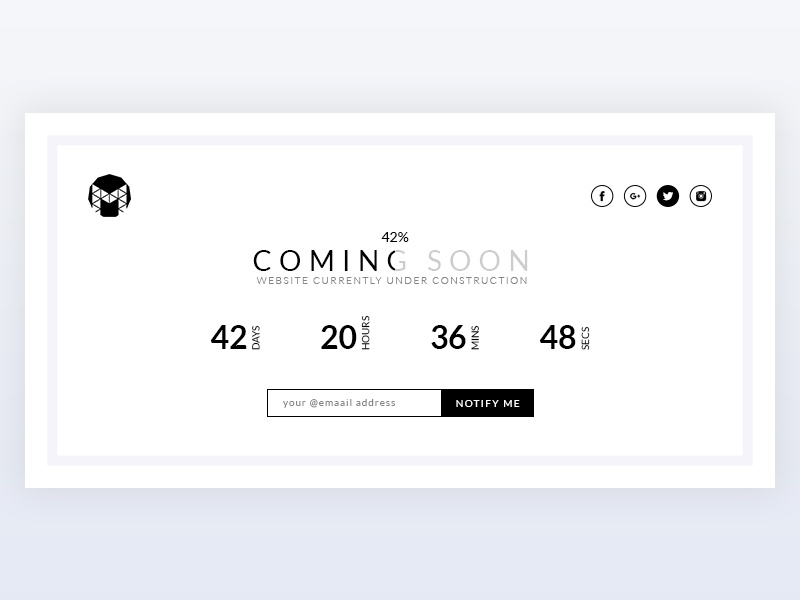 Coming Soon Page coming soon startup simple progress dailyui agency ux ui web design minimal wip