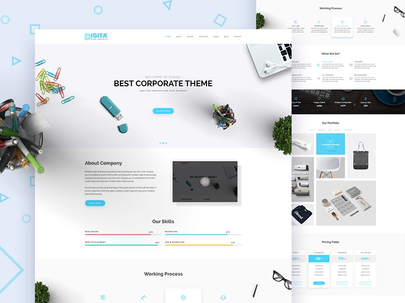 Digita Corporate Business Template Concept corporate business agency consulting finance creative trend corporate digital clean minimal