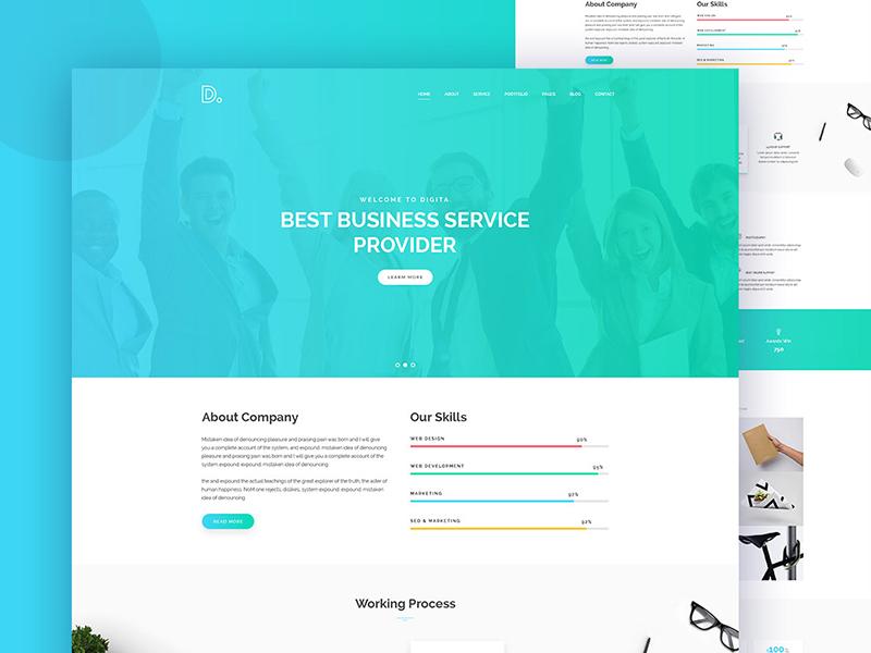 Digita Clean Corporate Business Template Concept white minimal modern creative ux ui trending minimalist corporate agency finance