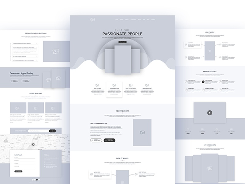 Wireframe for App Landing Design landing page illustration clean minimal landing app ux ui wireframe