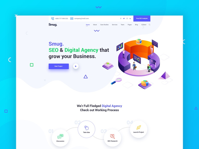 SEO and Digital Agency Landing Page Explanation smm design agency startup digital marketing marketing seo branding agency landing page clean ui