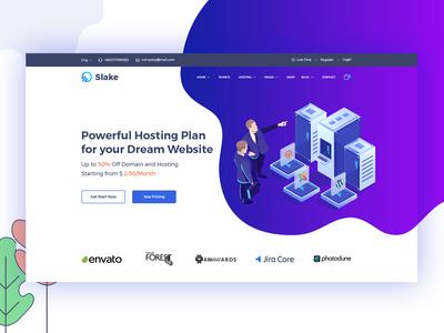 Slake Isometric Domain Hosting Website Concept  #2