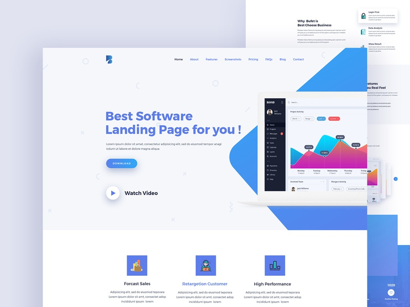 Buffet Saas Landing Page Concept creative color interaction wip web dashboad software saas design saas ux branding app landing startup app agency landing page ui