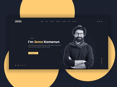 Personal Portfolio Website Concept Black