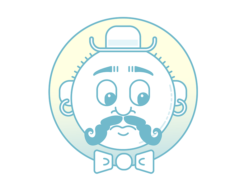 #onestacheaday 15 necktie piercings hat vector lineart digital art stach moustache movember