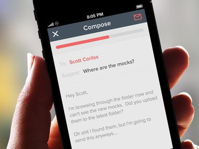 Simple Compose & Send minimal flat list mail ios app iphone email