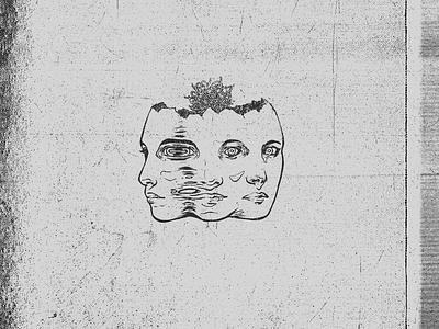 Split design face mental health illustration