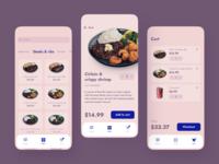 Food app menu contact checkout burger steak dish navy blue rounded pink cartoon order cafe food bottom nav ios moblie ui uxui ux app