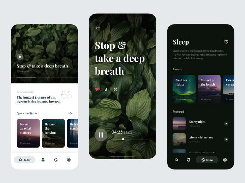 Meditation App fireartstudio fireart inspiration play sleep app yoga calm mindfull ux clean photos images leafs green ios meditation color light ui