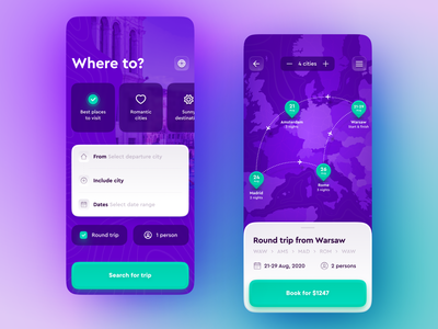 Multicity travel planning app mapping plant flight skeuomorph destination city romantic poland warsaw europe map place ux purple travel interaction white web light ui