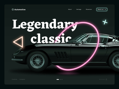 Automotive website fireart circle triangle shapes scroll slides auto cars after effect neon desktop website flat web typography ux logo animation design ui