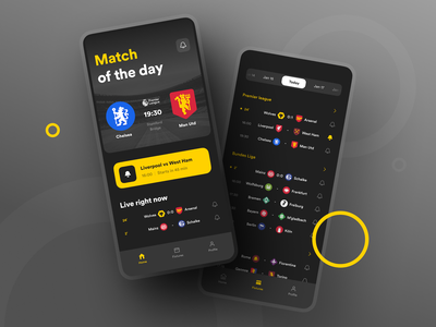 Sports app sports iphone ios homepage reminders goal dark ui dark match man utd chelsea football sport app design ux interaction ui