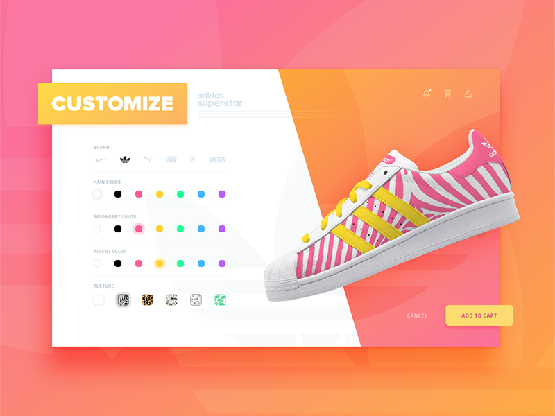 Customize product page texture stripes colors shadows gradient semi-flat adidas ux ui custimize