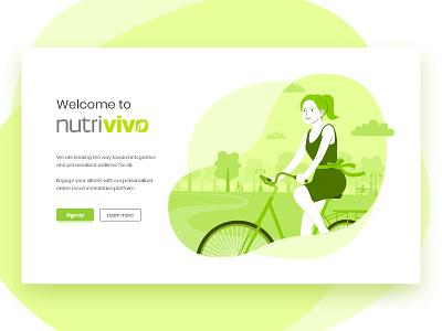 NutriVivo landing page landing page web illustration flat green plant round shapes button elements healt wellness