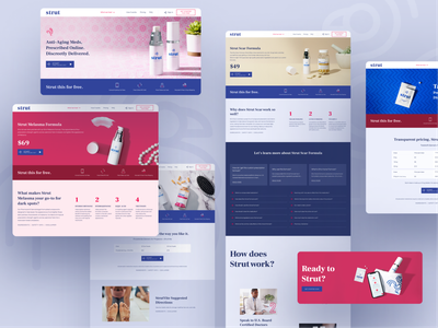 Strut products productshot doctor bottles telemedicine healthcare health medicine products page typography products ux design color interaction light white landing web ui