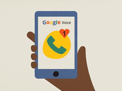 Google Voice—Online Dating texture rough illustration hand phone online dating google voice google