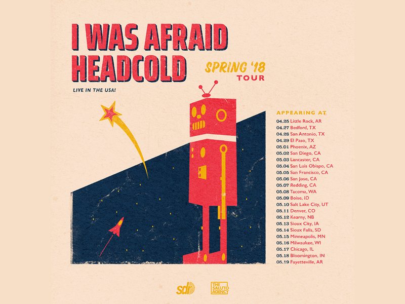 I Was Afraid / Headcold Tour Poster vintage space texture robot gig poster music band tour