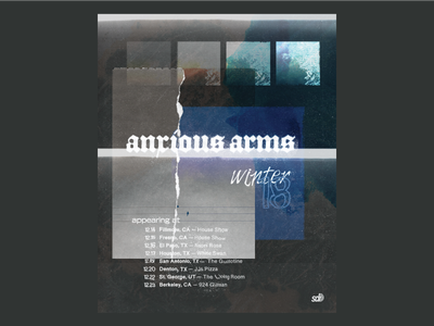 Anxious Arms Winter '18 Tour Poster photocopy deconstruction typography distorted type collage photo art winter tour poster gig posters gig gig poster band texture anxious arms