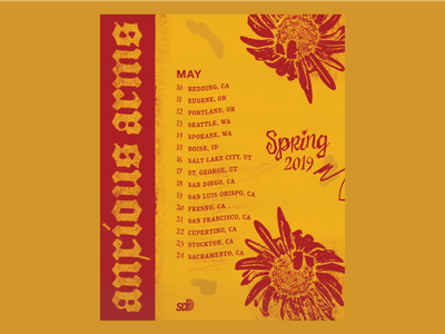 Anxious Arms Spring '19 Tour Poster gig posters band band poster tour tour poster gig poster yellow emo 90s flower spring anxious arms