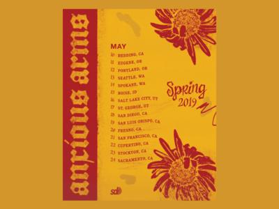 Anxious Arms Spring '19 Tour Poster
