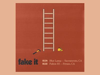 Fake It Weekender Flyer tour band vintage ladder construction hammer textured music minimal illustration texture