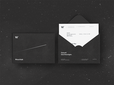 Woschlab Stationary  significa launching envelope letter stationary infinity galaxy space graphic black stars branding