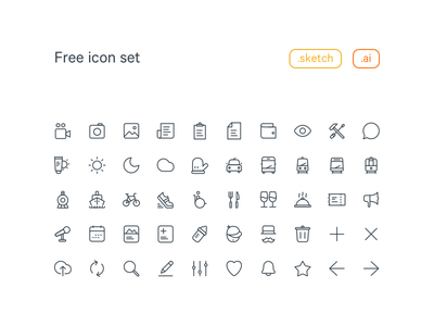 20x20 Free Line Icon set download interface ui food travel line family icon ai sketch free freebie