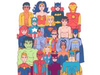 Superheroes have their school photo taken