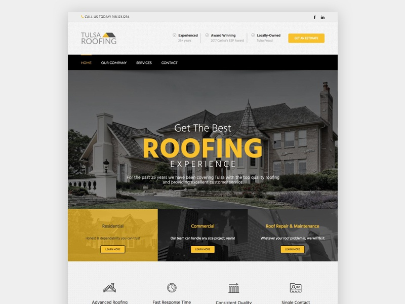 Roofing Web Design Project web design uiux yellow roofing
