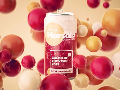 Pantone Color of the Year 2015 colorful soda can package design pantone logo branding illustration render octane design cgi camilociprian 3d c4d