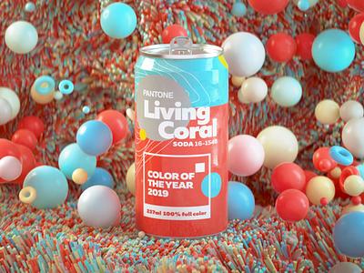 2019 Pantone Color pantone soda can illustration branding logo render design cgi camilociprian 3d c4d