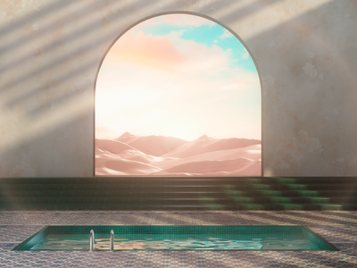 Sunset in the Desert spaces redshift3d mountains space pool surrealism desert interiordesign architecture render cgi camilociprian 3d c4d