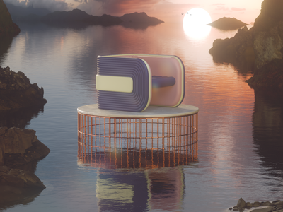 Letter D typedesign sunset landscape 36days redshift3d 3dtype type design type art chair design chair furniture design 36dayoftype design render cgi camilociprian 3d c4d